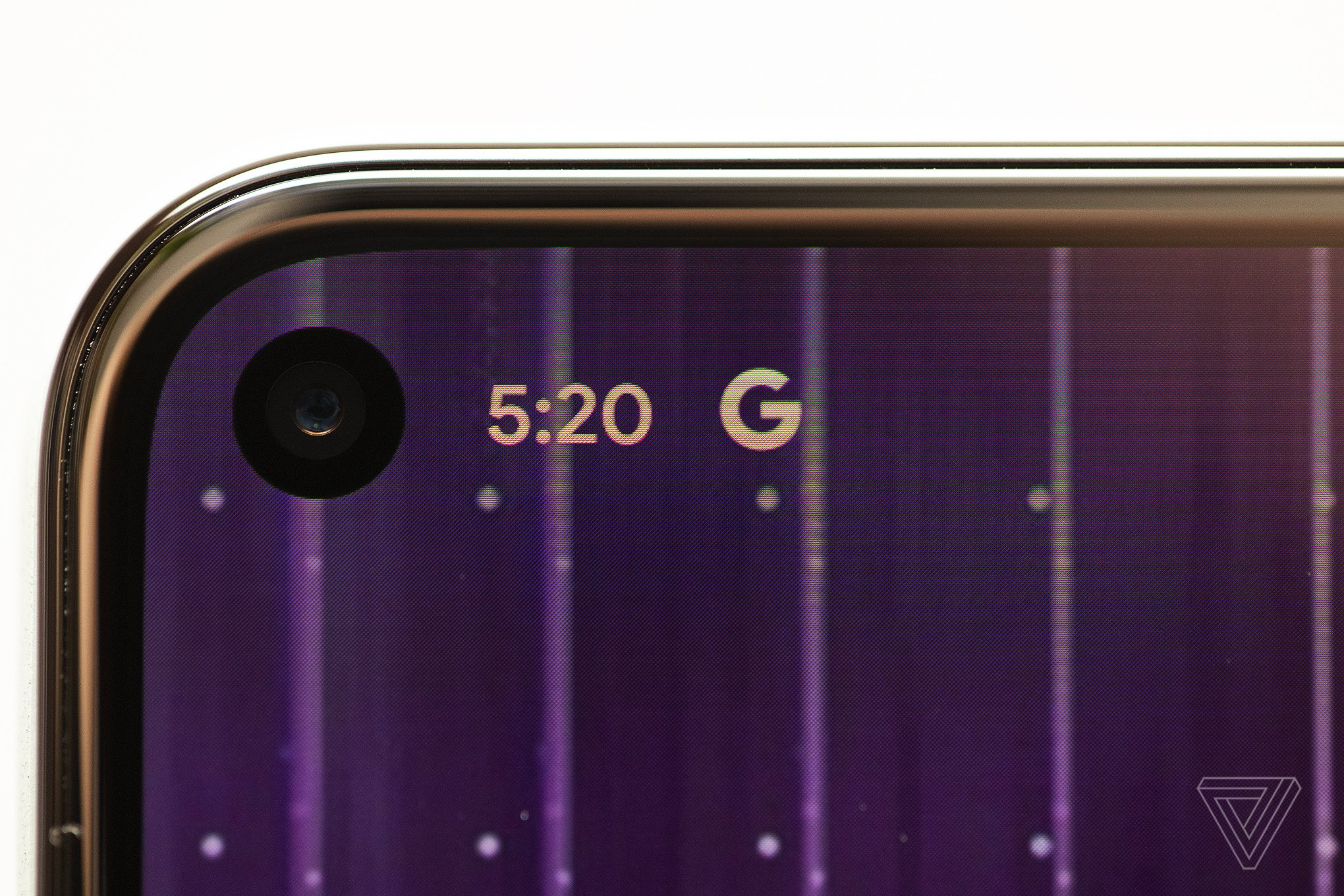 The hole-punch selfie camera and thin bezels on the Pixel 5.