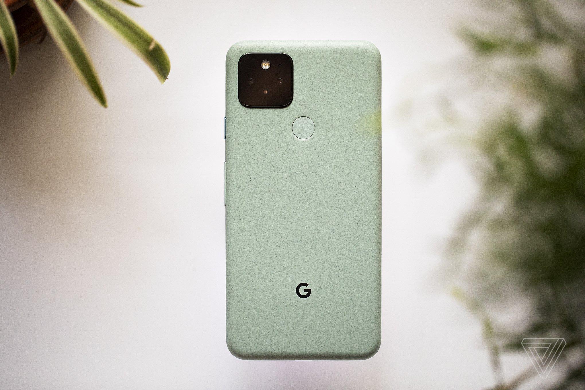 "The Google Pixel 5 in ""sorta sage"" green."