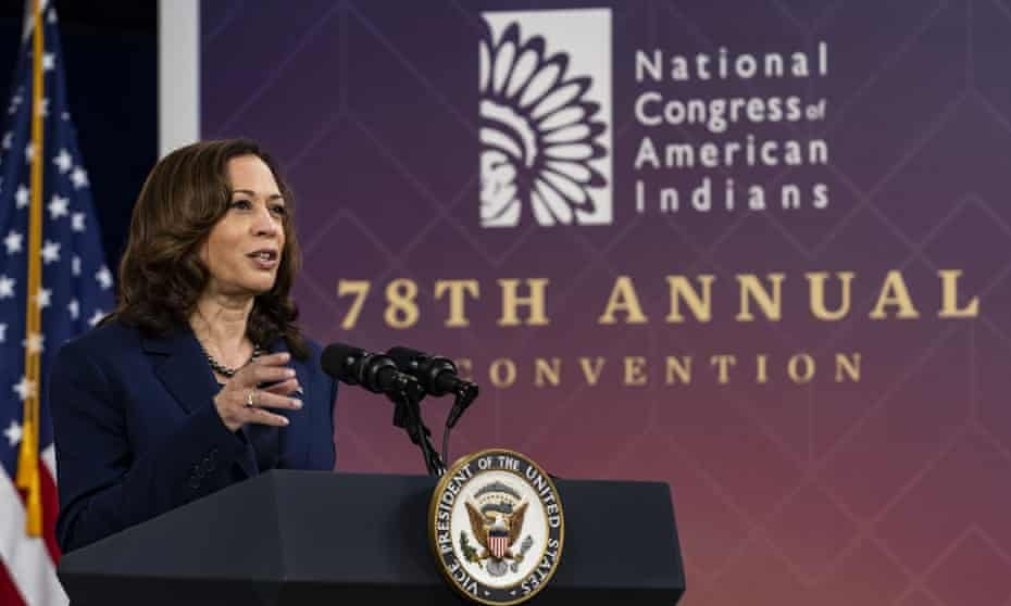 Vice-President Kamala Harris: 'Those explorers ushered in a wave of devastation for tribal nations, perpetrating violence, stealing land and spreading disease.' Photograph: Samuel Corum/UPI/Rex/Shutterstock