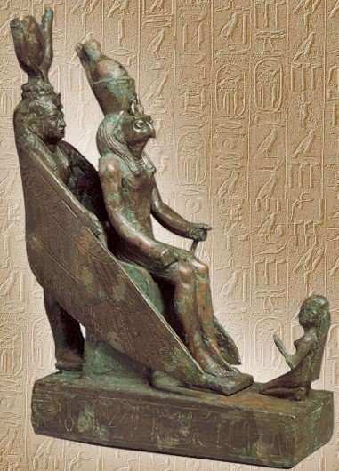 Isis being one with the throne on which her son sits. She spreads her wings of Ma'at, marking her superior morals. Aisata in ancient Egyptian means the throne.