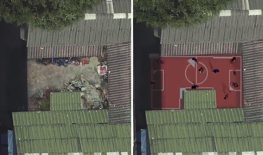 Футбольний майданчик замість сміттєзвалища: до і після. Банґкок, Хлонг Тоей