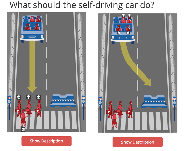 Driver's Ed: The website moralmachine.mit.edu tests human moral intuition in cases where machines will soon be making decisions, using data types of our own choosing.