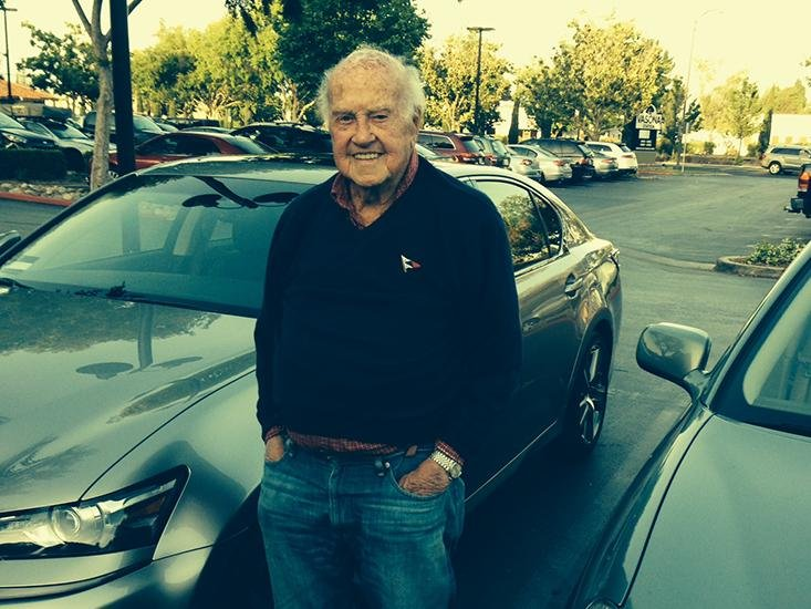 FOREVER YOUNG: The author's 97-year-old father in law, Charles Roberts, in front of his new Lexus.
