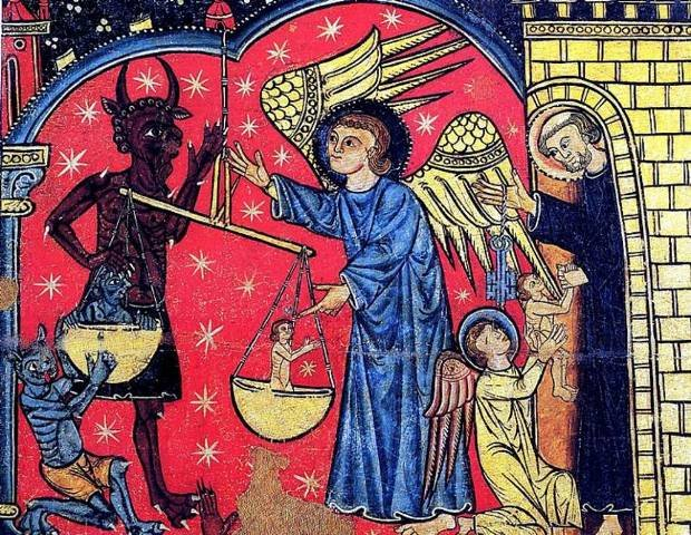 "Spanish fresco of the 13th century representing the Christians' saint, Saint Michael weighing the ""good souls"""