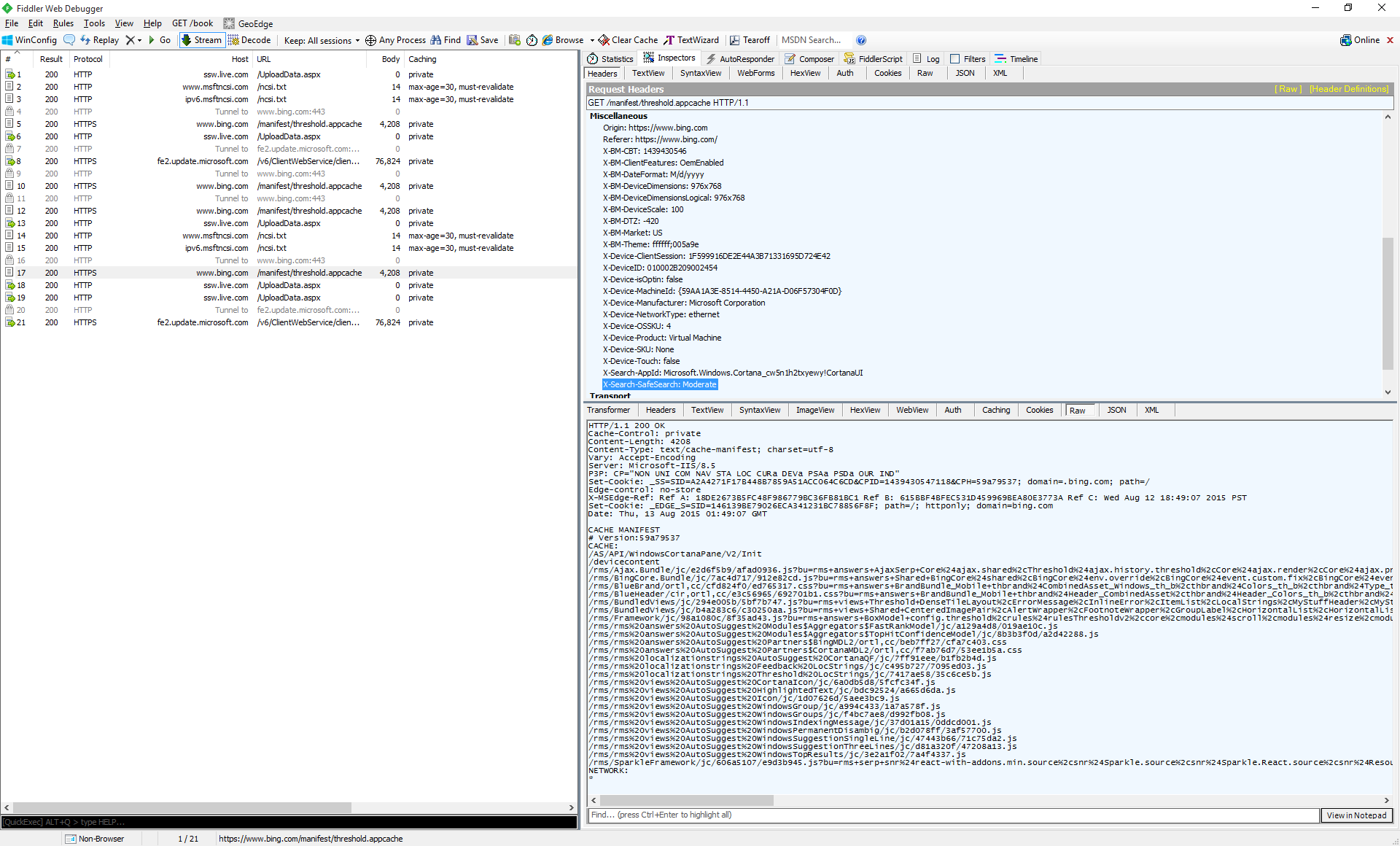 Enlarge / Shown in the Fiddler debugging Web proxy, the request that the Start menu makes every time you start typing into it or boot your machine.