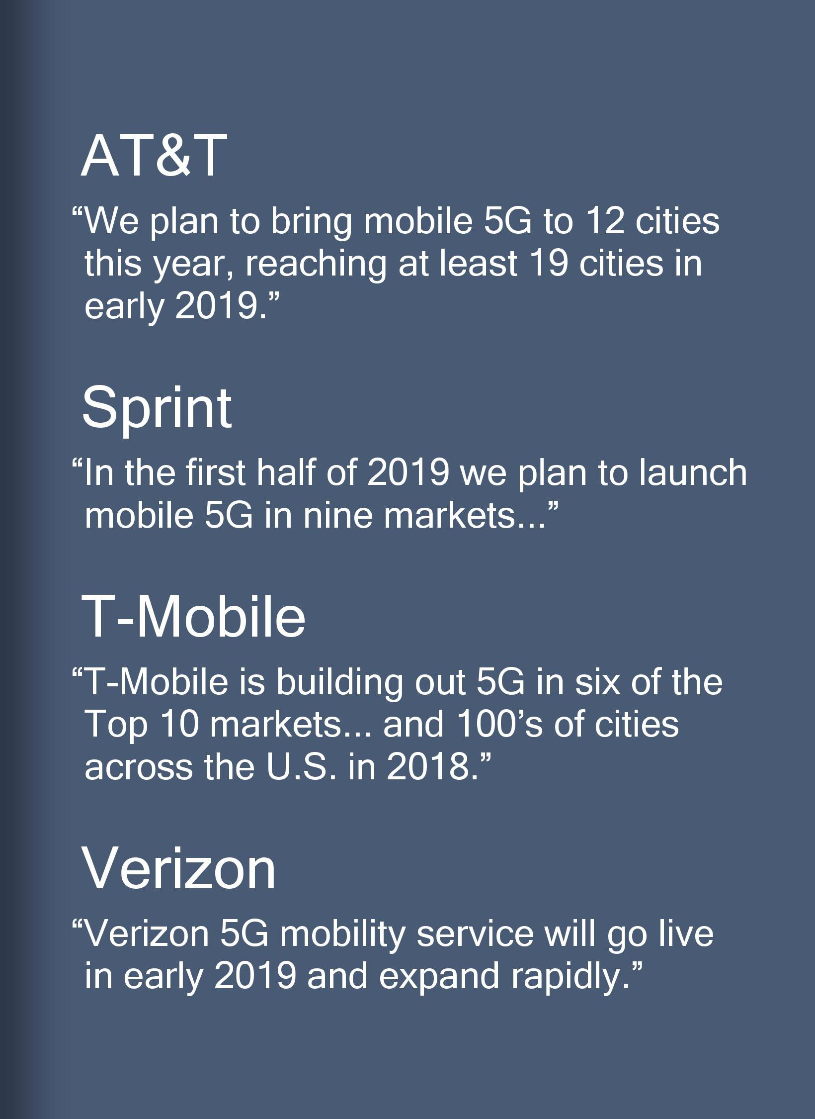 Enlarge / Another handy Qualcomm slide with 5G timelines from the big four US carriers.