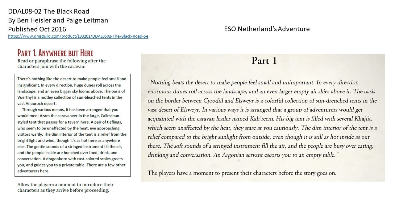 "Enlarge / In a series of comparative text samples published on Facebook, co-author Paige Leitman shows significant similarities throughout her ""The Black Road"" adventure and the Elsweyr adventure published by Bethesda."