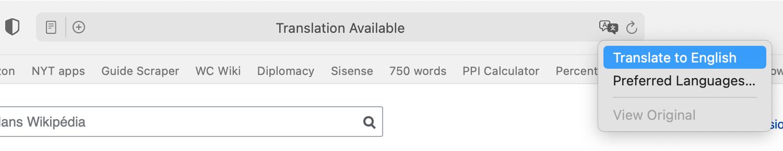 Translating a page in Safari 14.