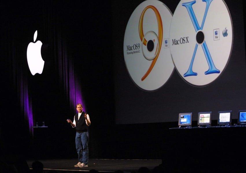 Steve Jobs talks about the last macOS version number change.