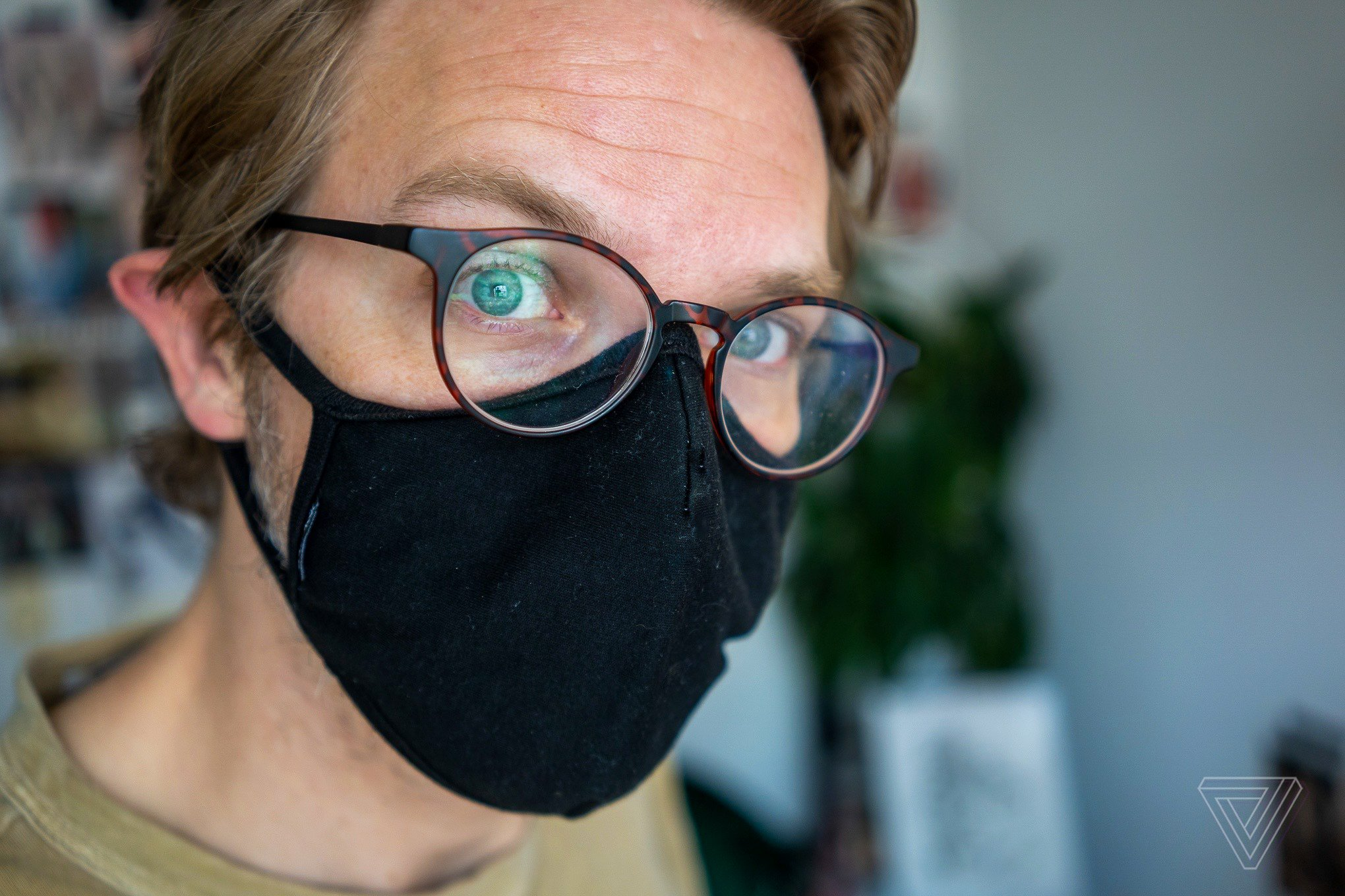 Putting your glasses on over your mask can prevent fogging.