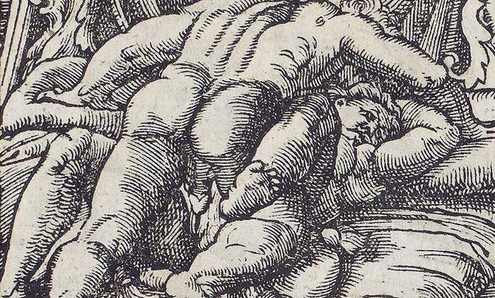 Fig 2. Unknown artist's copy of Marcantonio Raimondi's I Modi, 'Toscanini volume', c1555. Private collection, Milan