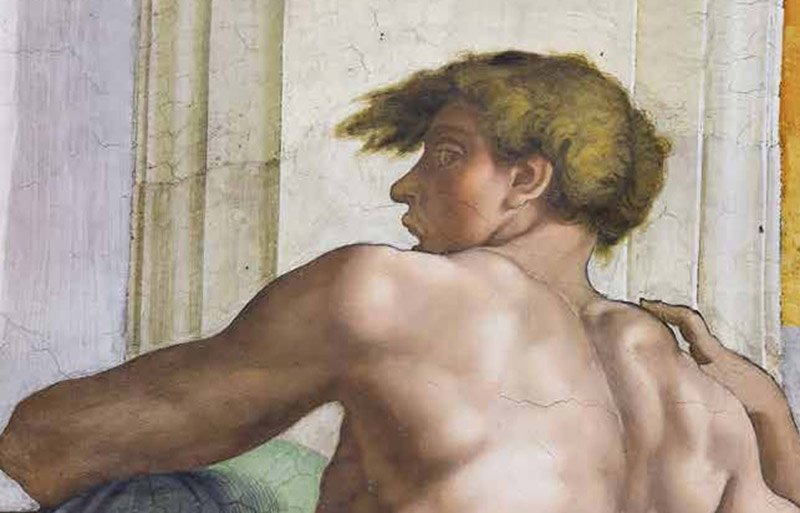 Fig 3. Sistine Chapel detail from book jacket, Eros Visible by James Grantham Turner