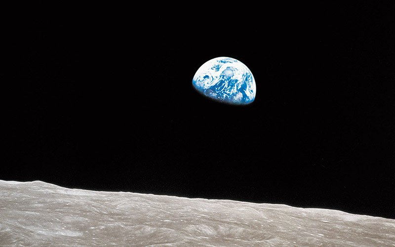 The Apollo 8 Earthrise photograph from 1968. Courtesy NASA