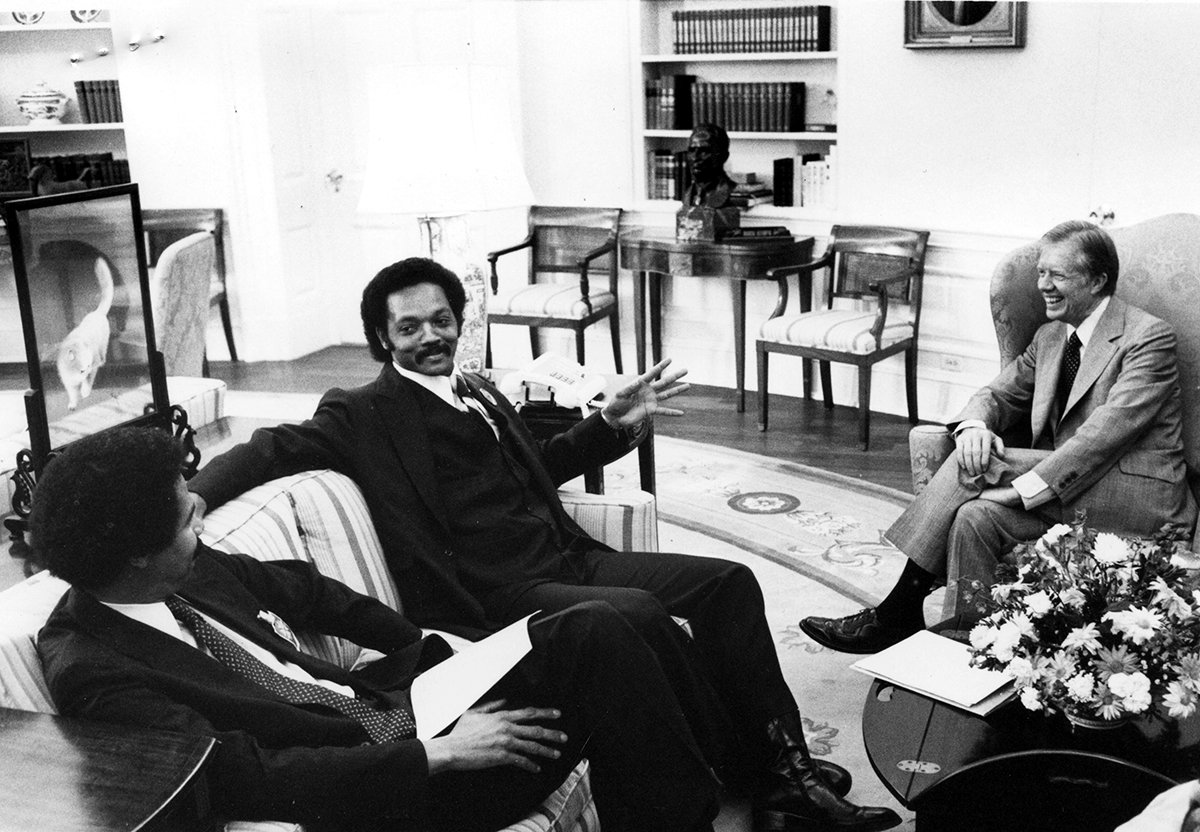 Jesse Jackson, in the Oval Office with President Jimmy Carter, ran for president as a Democrat in 1988 but worried for years that the party took the Black vote for granted.