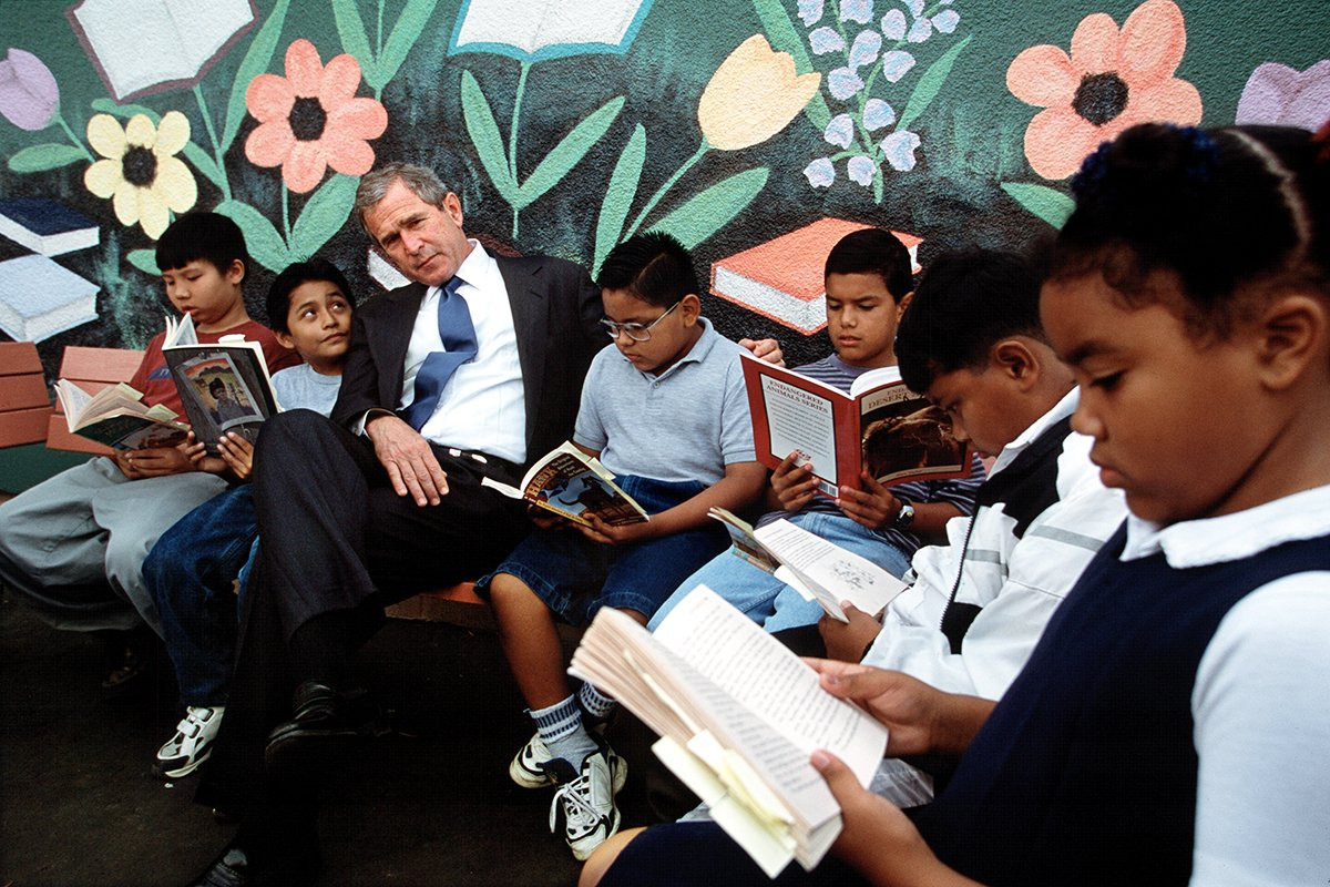 "Bush's focus on reforming education and immigration was key to his ""compassionate conservative"" appeal."