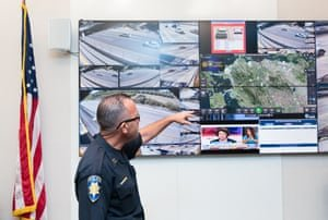 The Pittsburg police captain, Patrick Wentz, at the command center of the Freeway Security Network. Photograph: Tim Hussin/The Guardian
