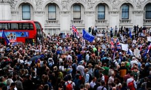 Salus populi supremus lex … Protesters in Whitehall on Wednesday after Boris Johnson suspended parliament. Photograph: Daniel Sorabji/AFP/Getty Images