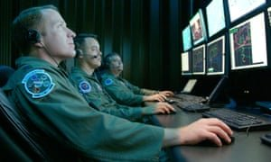 Cyber warfare specialists in the US Air Force run a test mission. Photograph: US Air Force/Capt Carrie Kessler