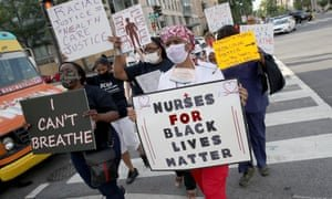 Medical workers from the DC Nurses Association march in support of Black Lives Matter in Washington. Photograph: Win McNamee/Getty Images
