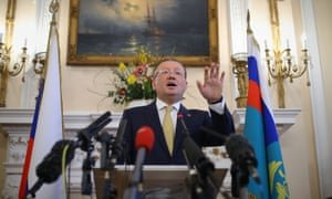 Russian ambassador to the UK Alexander Yakovenko speaking about the Salisbury poisoning at a news conference at the Russian Embassy in London in April 2018. Photograph: Yui Mok/PA