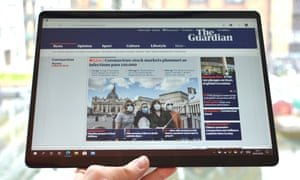 You can use the Surface Pro X hand-held, but at 774g it is not that light. Photograph: Samuel Gibbs/The Guardian