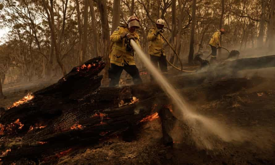 Firefighters try to contain a blaze in New South Wales last February. Photograph: Sean Davey/EPA
