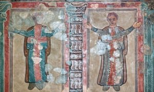 Part of a wall painting at Lullingstone Roman Villa showing early British christians at prayer from the 2nd century AD. Photograph: Alamy