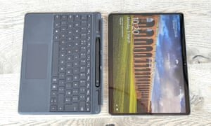 You can buy the Surface Pro X without a keyboard, but it is the detachable keyboard and pen that make the tablet great. Photograph: Samuel Gibbs/The Guardian
