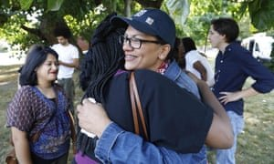 Rashida Tlaib greets supporters as she attends a 'Shabbat in the Park' event in Detroit, Michigan, on 16 August. Photograph: Jeff Kowalsky/AFP/Getty Images