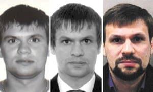 Anatoliy Chepiga AKA Ruslan Boshirov's passport photos. Composite: Bellingcat/PA/Met Police