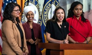 Rashida Tlaib, Ilhan Omar, Alexandria Ocasio-Cortez and Ayanna Pressley speak about Donald Trump at a press conference in Washington DC, on 15 July. Photograph: Jim Lo Scalzo/EPA