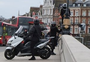 An organised gang carrying out robberies on scooters in London in 2018. Photograph: MET Police