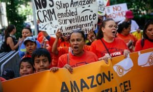 Amazon workers protest outside Jeff Bezos's apartment in New York City, July this year. Photograph: Kevin Hagen/Getty Images