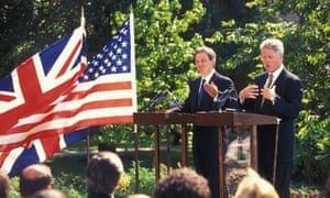 Tony Blair and Bill Clinton in 1997. Photograph: Gary Calton/The Observer