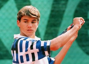 Roger Federer in 1996, aged 15, competing at the World Youth Cup in Zurich. Photograph: Keystone