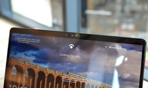 The Windows Hello face recognition cameras can log you in as the computer boots up or resumes from standby. Photograph: Samuel Gibbs/The Guardian