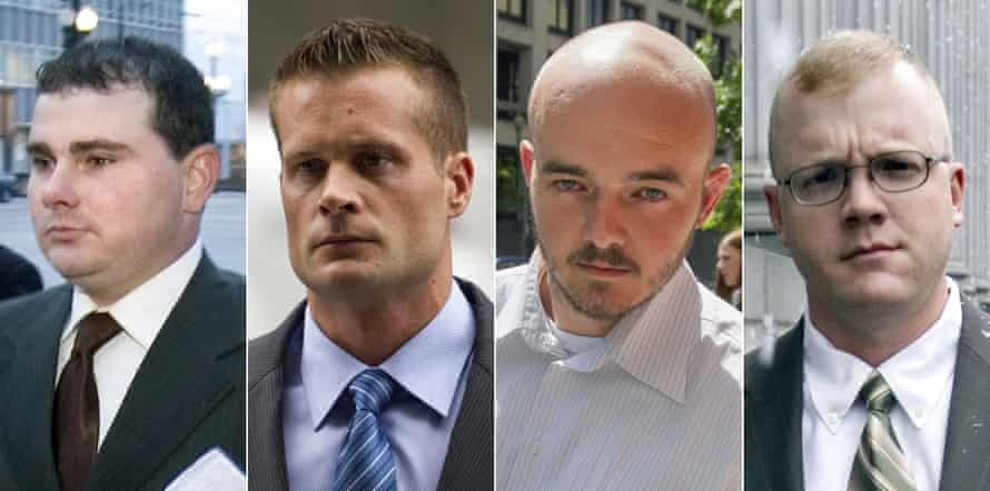 This combination made from file photo shows Blackwater guards, from left, Dustin Heard, Evan Liberty, Nicholas Slatten and Paul Slough Photograph: AP