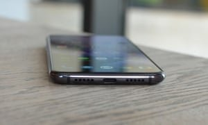 Cable is the only available charging method on the OnePlus 7, but at least it's fast. Photograph: Samuel Gibbs/The Guardian