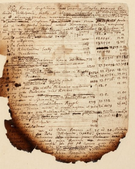 Handwritten notes by Isaac Newton show his investigations into the Egyptian pyramids. Photograph: Sotheby