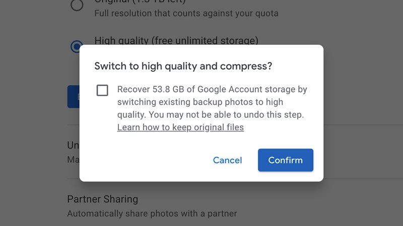 Shrinking your files in Google Photos can be an effective space saver.
