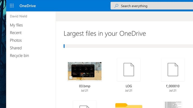 OneDrive will identify the biggest files you've uploaded.