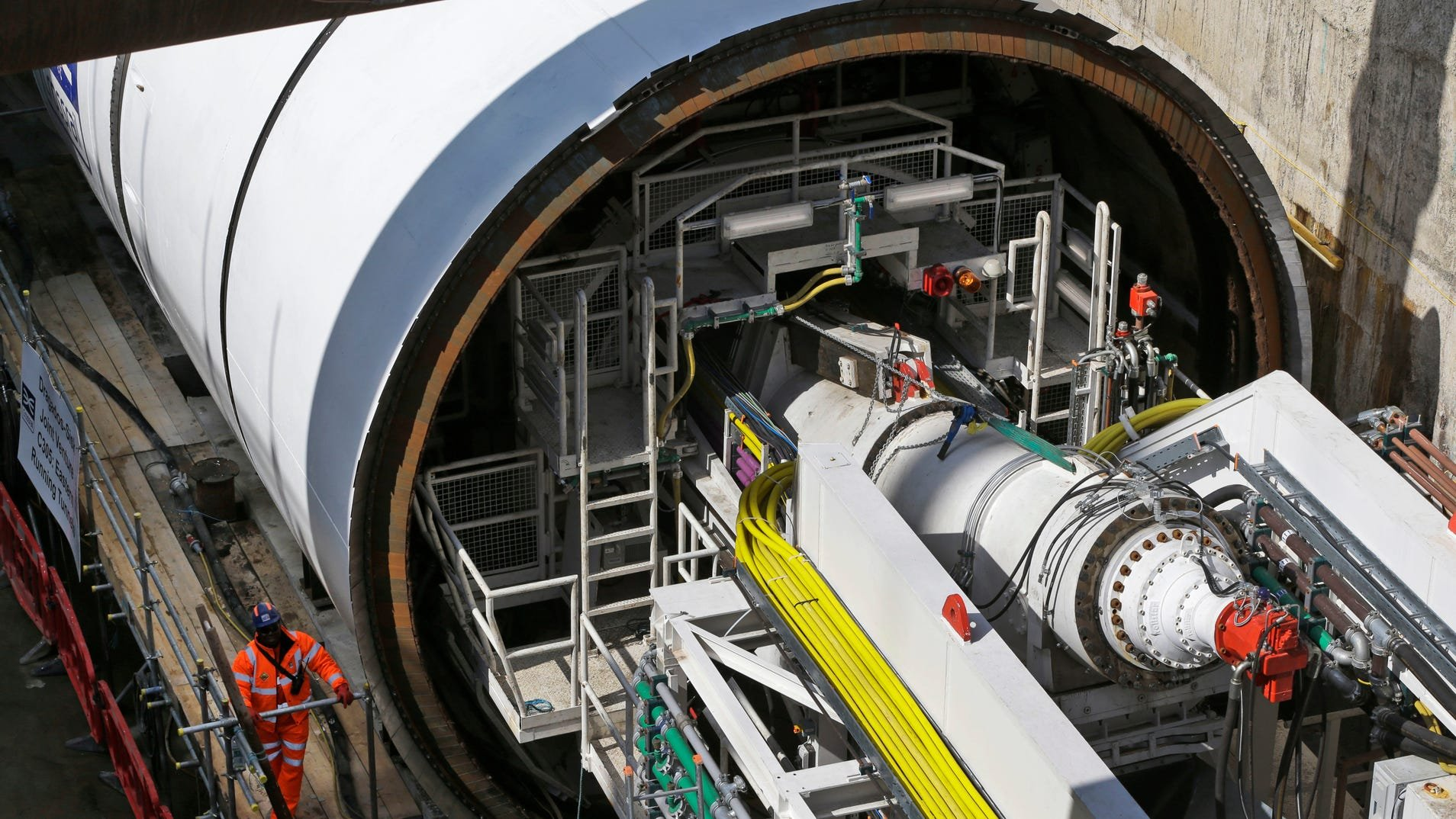 This 2013 photo shows one side of a tunnel boring machine