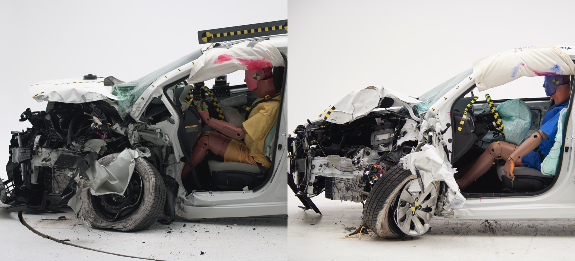 """The 2013 Kia Rio (left0versus the 2018 Kia Rio (right) after a driver-side small overlap frontal test, in which it went from """"Marginal"""" then to """"Good"""" in 2018. Where that mainly shows is in the intrusion on the driver's legs."""