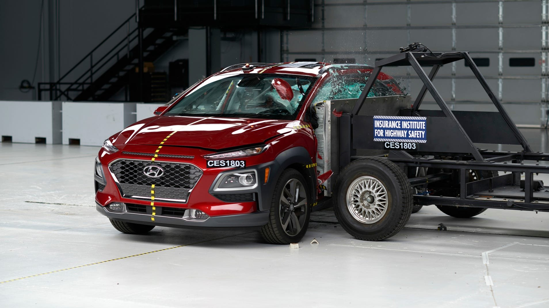 """The 2018 Hyundai Kona, which the IIHS rated as """"Good"""" in its side test."""