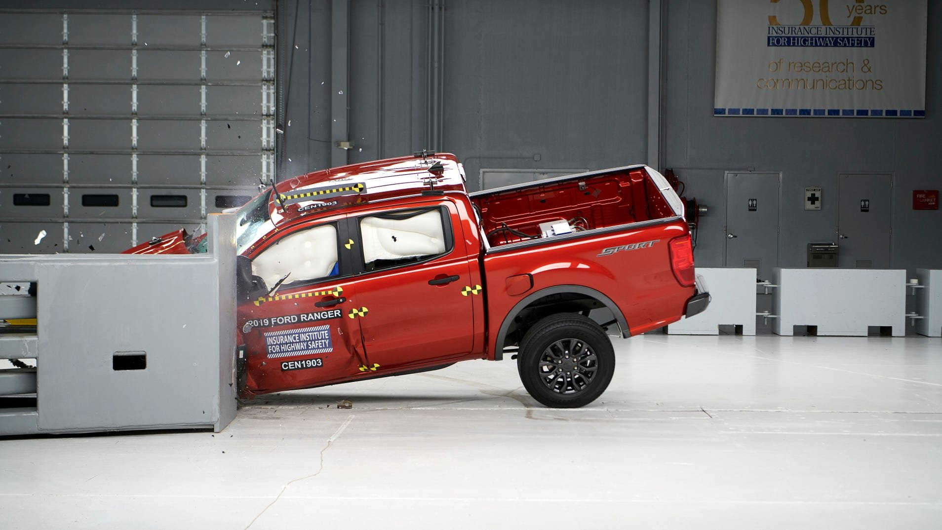 """The 2019 Ford Ranger, which was rated """"good"""" in this driver-side crash."""