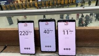 Image caption                                      A test at Waterloo station found a wide variety of speeds available across the 5G networks tested