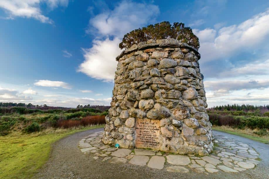 A memorial cairn at the Culloden Battlefield, erected in 1881