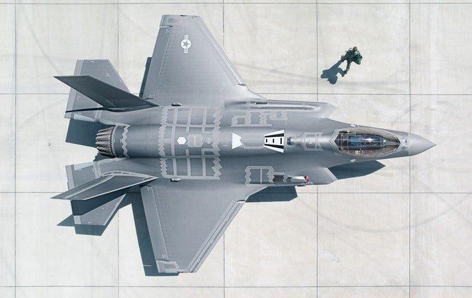 Major Matt Johnston walks away from the F-35A.