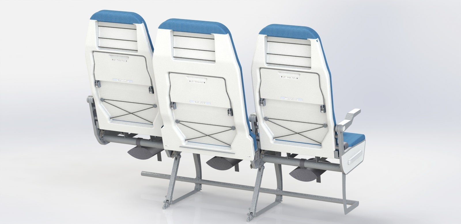 The seats, made mostly of aluminum, weigh less than 20 pounds, important in planes that defy gravity.