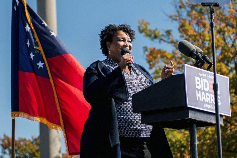 Former Georgia House of Representatives Minority Leader Stacey Abrams speaks ahead of former President Barack Obama